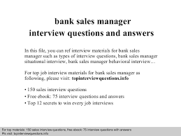 Bank Manager Interview Questions Bank Sales Manager Interview Questions And Answers