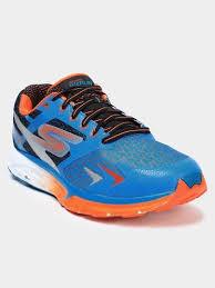 skechers running shoes for men. skechers gorun forza men blue \u0026 orange running shoes front view for
