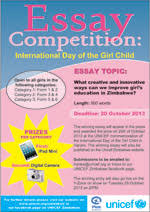 zimbabwe media centre essay competition international  essay competition international day of the girl child