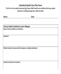 Blank Care Plan Forms Individual Support Example Suidakra Info