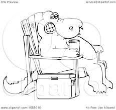 chair clipart black and white. royalty-free vector clip art illustration of a coloring page outline an alligator sitting in adirondack chair with beverage by dennis cox clipart black and white