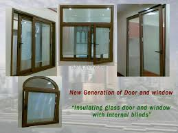 energy saving products insulating tempered glass doors and windows with internal blinds