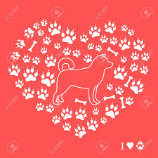 red dog bone background. Perfect Bone Shiba Inu Silhouette On A Background Of Dog Tracks And Bones In The Form  Heart Throughout Red Dog Bone Background