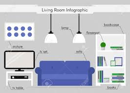 Living Room Tv Set Living Room Infographic Bookcase Sofa Tv Table Tv Set Lamps
