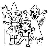 ハロウィンの無料イラスト ぬりえに使える白黒デザイン 年賀状はがき
