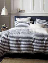 our favourite set of striped bed linen for a nautical bedroom style navy and white striped bed linen paired with white walls and coastal accessories will