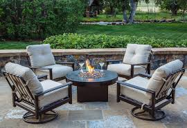 gas fire pit table hammered copper outdoor seating