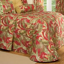 Captiva Dark Red Tropical Quilted Bedspread & Captiva Tropical Bedspread Dark Red Adamdwight.com