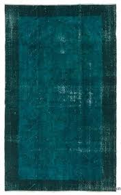 turquoise over dyed turkish vintage rug 5 x 8 4