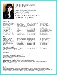 Musical Theater Resume Sample Musical Theater Resume Template Cover
