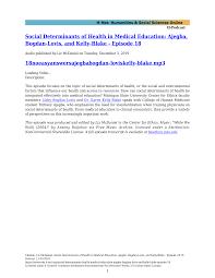 Social Determinants of Health in Medical Education: Ajegba, Bogdan-Lovis,  and Kelly-Blake - Episode 18 18noeasyanswersajegbabogd