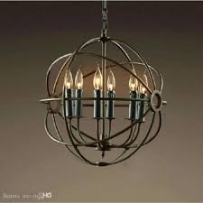 wood orb chandelier iron u0026 wood 6 light round