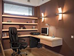 small office idea. Interior , Inspiring Tricky Small Home Office Ideas For Limited Space : Corner Workspace At With Brown Idea And Elegant Design E