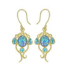 australian triplet opal blue topaz gold plated earrings 925 sterling silver earring