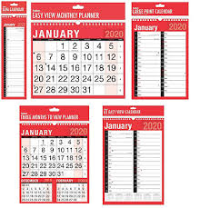 2020 Wall Calendar Slim Calender Large Month To View