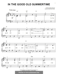 in the good old summer time for easy piano by george evans