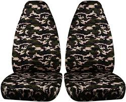 brown and green military camo car seat covers