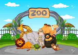 zookeeper clipart.  Clipart Scene At The Zoo With Zookeeper And Animals Illustration In Zookeeper Clipart W