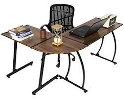 walnut office desks. GreenForest Office Desk L-Shape Corner Computer PC Table Workstation 3-Piece For Home Walnut Desks