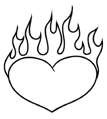Valentine Heart Pictures To Color D4793 Heart With Flames Coloring