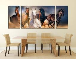 canvas wall art horses 3 piece canvas wall art dining room multi panel canvas horse