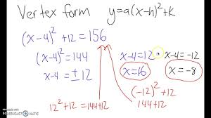 solving quadratic equations with square roots in vertex form