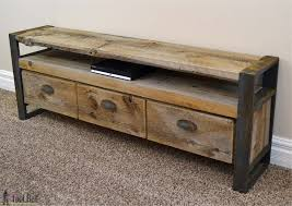 rustic media console table