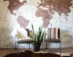 diy faux brick wall with world map