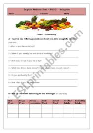 What do you think makes a healthy diet? Test About Food Esl Worksheet By Tancredo