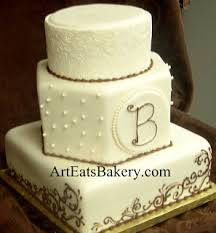 monogrammed wedding cakes. three tier round, square and hexagon custom gold pearl fondant wedding cake with brown monogram monogrammed cakes