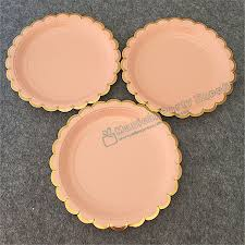 48pcs Foil Gold Pink Coral Paper Plates Girl\u0027s Birthday Decor Princess Party Supplies Pastel Peach 18cm Dessert Cake Dishes