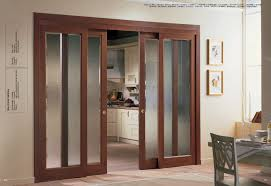 source via brown varnished wooden frame sliding pantry doors with frosted glass