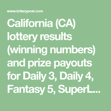 California Ca Lottery Results Winning Numbers And Prize