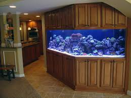 decoration: Cute Interior House With Cool Aquariums Design Between Wooden  Cabinet Located Under Ceiling With