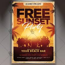 Free Sunset Party Flyer Summer Psd Template