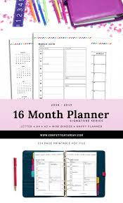 16 Month Printable Planner 2018 19 Signature Stripe Pday 1000 A