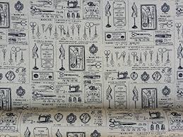Vintage Sewing Machine Print Fabric