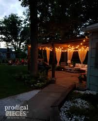 patio ideas with fire pit. Patio With Nighttime Lights And DIY Fire Pit By Prodigal Pieces | Prodigalpieces.com Ideas