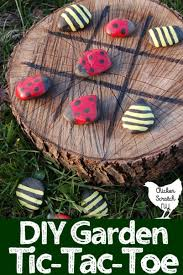Game With Rocks And Wooden Board Ladybug and Bumble Bee TicTacToe 51