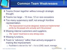 common team weaknesses teams
