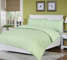 green stripes quilt cover set