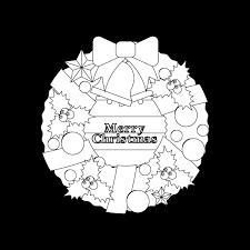 塗り絵に最適な白黒でかわいいクリスマスリース2の無料イラスト商用