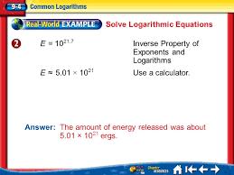 8 solve logarithmic equations