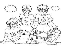 Small Picture Three Soccer Player Making a Team Pose Before the Game Coloring