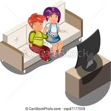 boy watching tv clipart. young family watching tv in living room boy clipart