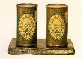jasper jones painted bronze ale cans ballentin
