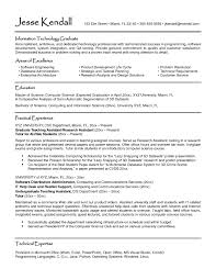 Resume Objective For Information Technology Student Valid Example A