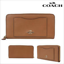 NWT Authentic Coach Accordion Zip Wallet Crossgrain Leather Saddle F54007