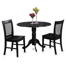 East West Furniture Dublin 3 Piece Kitchen Table Set Round Table
