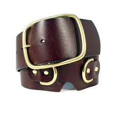 details about wcm new york wide leather belt w brass rings women s s 27 31 new
